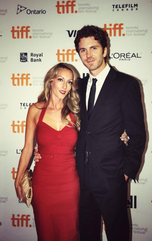Wearing Pinup Couture from The Foxy Shoppe at TIFF film premier for The Editor with, filmmaker, Matthew Kennedy.