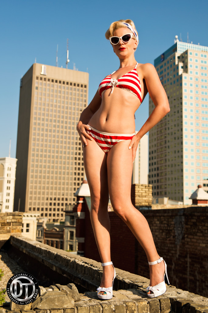Sailor bikini by Ralph Lauren. Shoes by Pinup Girl. Photo by Dano Tanaka.