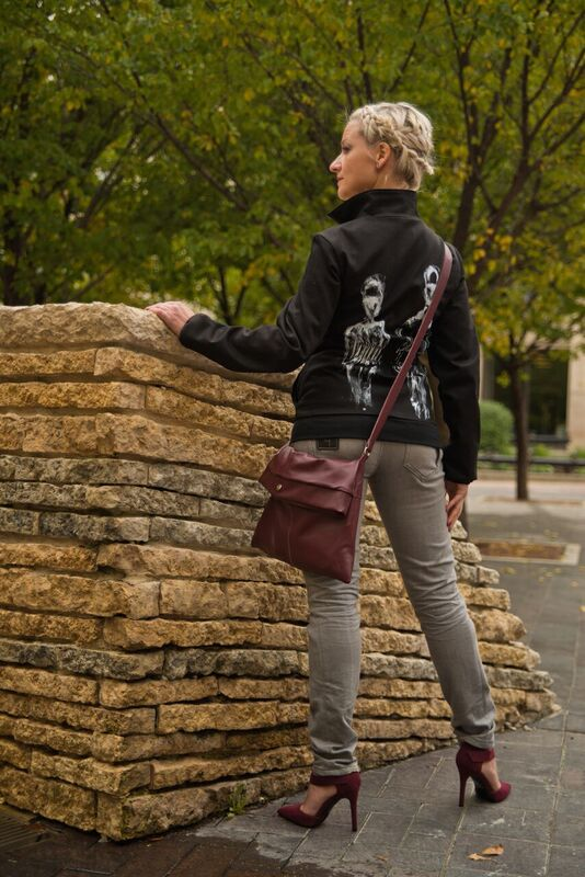Hand painted, double zip jacket, skinny jeans, and cross body bag by Lennard Taylor. Shoes from Mad About Style.